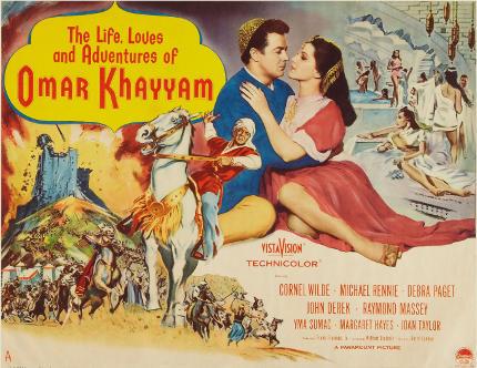 poster van een oude jaren-50 film 'over het leven' van Omar Khayyam